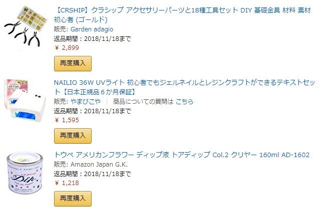 アマゾンで購入したハンドメイド用品